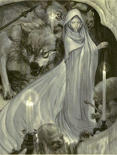 I wish all children and young girls were protected by wolves.  Illustration by James Jean