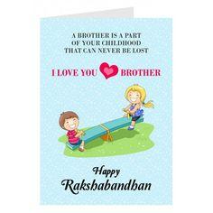 Personalised+Love+You+Bro+Rakhi+Card via @giftcart I Love You Brother, Your Brother, Rakhi Greetings, Rakhi Cards, Raksha Bandhan Gifts, Happy Rakshabandhan, Rakhi Gifts, Online Gifts, Losing Me