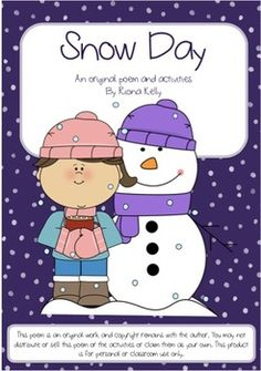 Snow Day Poem & ActivitiesAn original poem and a week's worth of activities… Cloze Activity, Activity Sheets, Parts Of Speech Activities, Phonics, Vocabulary, Worksheets, Poems, Teacher, Amp