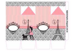 Festa de Aniversário Paris com cone para guloseimas Paris, convite Paris, rótulo para Guaraná Caçulinha, rótulo Chocolate Baton, livrinho para colorir..