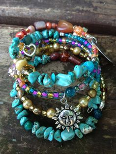 Live Laugh Love: five wrap beaded memory wire bracelet with metal stamped charm on Etsy, $40.00