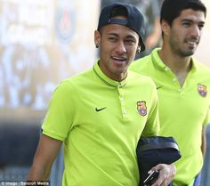 Neymar was among those turning up for training with Luis Suarez following behind the forward