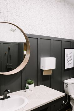 beautiful modern board and batten Black Wainscoting, Wainscoting Bathroom, Downstairs Bathroom, Bathroom Renos, Laundry In Bathroom, Accent Wall In Bathroom, Black Accent Walls, Black Walls, Bathroom Pictures