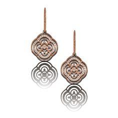 """V5 Rose Gold Diamond Earrings """"Meg"""" model 49 with top plain gold."""