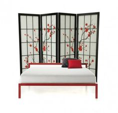 use a room divider as a headboard.