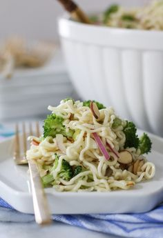 Ramen Noodle Salad | inspiredbycharm.com. (I would leave out the ramen seasoning packets to make it vegan)