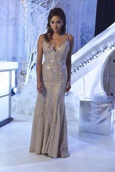 dress pretty little liars PLL Ice Ball gown mermaid prom dress silver emily fields shay mitchell prom dress