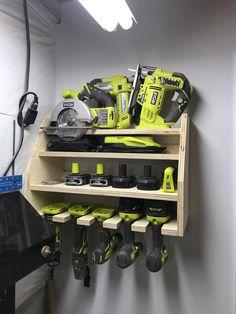 Power Tool Organizer, Power Tool Storage, Garage Tool Storage, Garage Tools, Diy Storage, Storage Racks, Diy Garage Work Bench, Tool Storage Cabinets, Garage Shop