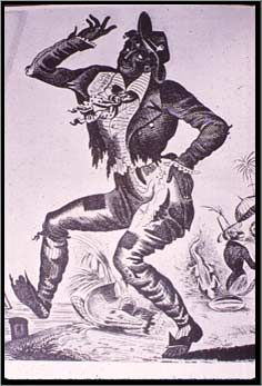 "White performer Thomas Dartmouth ""Daddy"" Rice adds a new twist to the tradition of mimicking African Americans, and his ""Jim Crow"" dance earns him the title ""father of blackface minstrelsy."" Minstrel shows produce two major stereotypes that haunt black performers for years -- the clown and the dandy. 1828.jpg 236×347 pixels"