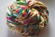 Sari Silk, Artists Pallet, Fair Trade, 5 Yards, OOAK Silk Canvas Series, Textile, Yarn, Unique Ribbon, Silk Ribbon, Artwear Elements 142