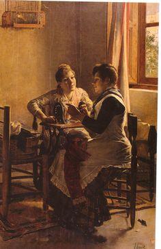 Conversación- Joaquín Agrasot Juan (Orihuela, 24 de diciembre de 1836 - Valencia, 8 de enero de 1919) fue un pintor español, encuadrado en el género realista y costumbrista.