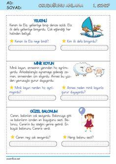 Learn Turkish, Turkish Language, Class Activities, Grade 1, Worksheets, Humor, Education, Learning, Math