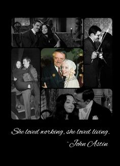 He said that the easiest part of working on the Addams Family with her was getting the hots for her. The Addams Family 1964, Addams Family Tv Show, Family Tv Series, Gomez And Morticia, Morticia Addams, John Astin, Carolyn Jones, Space Girl, Guys And Dolls