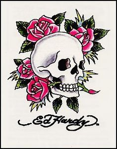 """Ed Hardy-Skull w/Pink Roses Temporaray Tattoo by Tattoo Fun. $4.95. This temporary tattoo has three cute pink roses with leaves placed nicely around a skull that is holding another pink rose in its mouth. Its size is 3 1/2"""" x 2 1/2"""" and would look nice on the back, shoulder or even feet."""