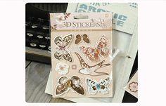 2015New Arrivals Fashion Dazzling 6sets/lot retro Butterfly bird 3D Decorating Stickers Set DIY Photo Album Scrapbooking Kit