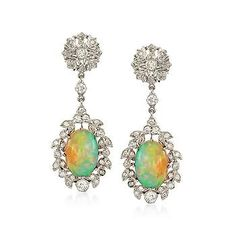 Ross-Simons - C. 2000 Vintage Opal and .80 ct. t.w. Diamond Drop Earrings in 14kt White Gold -
