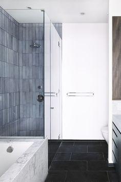 A tiled ensuite bathroom in Brooklyn