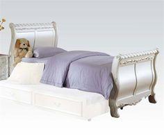 Pearl Elegant White Wood Full Sleigh Bed