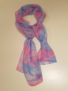 Hand painted silk scarf - pink/blue - 25 x 150 cm by Silkmagie on Etsy Handmade Scarves, Handmade Gifts, Painted Silk, Hand Painted, Silk Scarves, Pink Blue, Fashion Accessories, My Etsy Shop, Colours