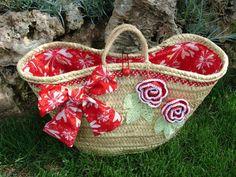 Capazo Rojo Beach Basket, Diy Sac, Basket Liners, Creative Box, Flower Bag, Purse Holder, Straw Tote, Denim Bag, Easy Diy Crafts