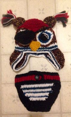 One size fits all young boy's pirate owl hat and diaper cover set by AStitchAHeadCD on Etsy