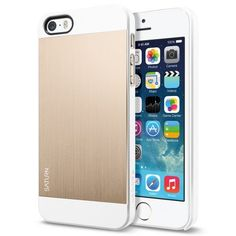 Spigen Case Saturn for iPhone - Retail Packaging - Champagne Gold Premium Aluminum Hard Case Polycarbonate and Aluminum: Anodized Metallic Coating Highlights the original design of iPhone Slim, Form-fitted and Lightweight Compatible with iPhone 5 / iPhone Cool Iphone 5 Cases, Ipod Cases, Iphone 4s, Apple Iphone, Iphone 5s Accessories, Safari, Camera Photos, Ipad Mini, Store
