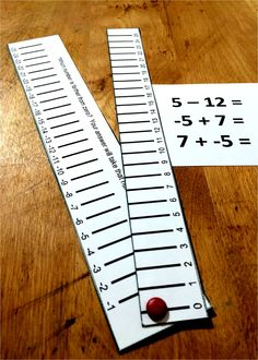 A simple tool to make integer operations more concrete. This manipulative makes adding positive and negative numbers more intuitive. Integers come up in so many places, from middle school all the way through high school with solving equations. Math Resources, Math Activities, Math Games, Integers Activities, Number Line Activities, Adding And Subtracting Integers, Sixth Grade Math, Math Numbers, Rational Numbers