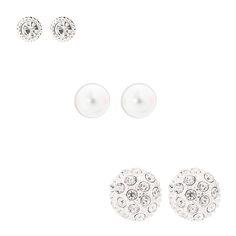 "<P>Glitz and glam in these sparkly stud earrings. Includes: crystal studs, pearl studs and crystal fireball studs.</P><UL><LI>Silver-tone finish<LI>Stud back<LI>Diameter: .5""/1 cm</LI></UL>"