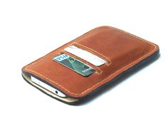 Brown iphone 5 case,  Slim leather wallet, iphone 5 sleeve, minimalist travel wallet, mens wallet, Business Card Case fall gift for him