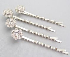 $24.00    Wedding Rhinestone Hair Pins Silver Crystal by pinkingedgedesigns