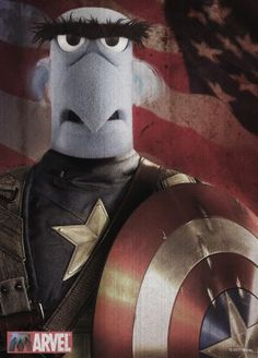 The most american poster... of the Muppets.  The Muppets Poster #muppets #samtheeagle #captainamerica