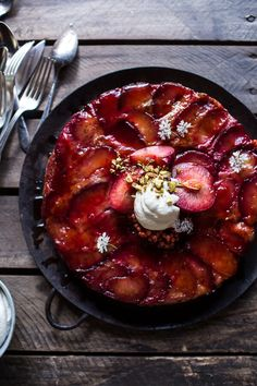 Brown Butter Plum Up-Side Down Yogurt Cake w/ Pistachios, a wholesome, delicious way to use up those amazing plums we now have! From halfbakedharvest.com