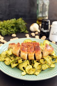 Roasted Pork Chops with Pistachio-Parsley Pesto Zucchini Pasta