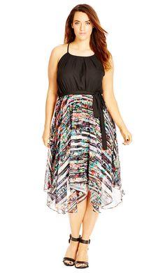 City Chic Spliced Up Print Dress - Women's Plus Size Fashion City Chic - City Chic Your Leading Plus Size Fashion Destination #citychic #citychiconline #newarrivals #plussize #plusfashion