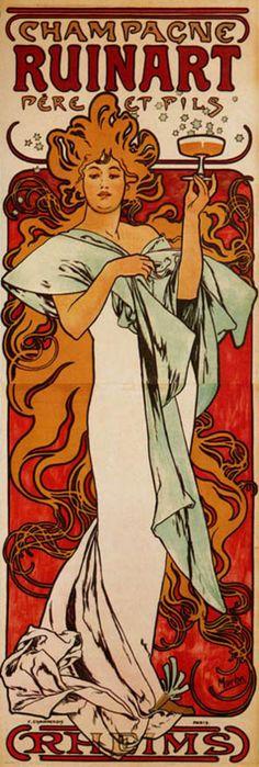 Vintage Art Nouveau poster: Champagne Ruinart Pere et Fils