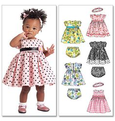 Infants' Lined Dresses, Panties and Headband