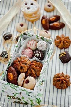 Christmas Cookies: Hazelnut Marzipan Macaroons, Jam Drops with Morello Cherry Preserve, German Spitzbuben.