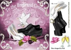 LOVELY WEDDING SHOES WITH WHITE DOVE 8X8 on Craftsuprint - Add To Basket!