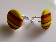 African Print Button Cufflinks Yellow Orange & by JustThingsbyLx, £6.00