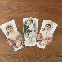 Set of 3 Vintage Victorian Girls Tussie Mussie Christmas Tree Ornaments ~ Paper Lace Cone Doily by FeeneyFinds on Etsy