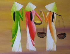 Quality vietnam drawing with free worldwide shipping on AliExpress Art Buddha, Art Chinois, African Art Paintings, Art Asiatique, Diy Canvas Art, Art Drawings Sketches, Fabric Painting, Chinese Art, Asian Art