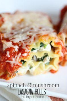 Spinach and Mushroom Lasagna Rolls.