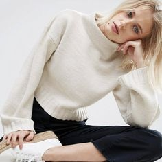 328f476c1e977 ASOS Chunky Jumper in Crop with High Neck