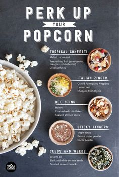 So many great recipes for popcorn add-ins. Popcorn is a great snack for football watching and tailgate parties. From sweet to salty to spicy to healthy. Gourmet Popcorn, Flavored Popcorn, Popcorn Toppings Healthy, Whole Food Recipes, Snack Recipes, Great Recipes, Popcorn Seasoning, Homemade Popcorn, Tapas