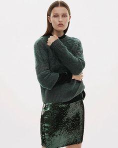 Tonal dressing combining matt comfy wool mixes with high shine sequins create an easy volume and the new soft power look. @costumedk #mountilleknit #feveskirt #samsoesamsoe #samsøesamsøe