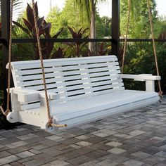 HP Swings Heavy Duty 800 Lb Roll Comfortable Porch Swing With Hanging Ropes