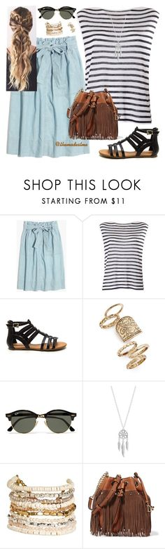 """""""Blow Bleu Stripes"""" by themodestme ❤ liked on Polyvore featuring Madewell, T By Alexander Wang, Topshop, Ray-Ban, Lucky Brand, Panacea and Diane Von Furstenberg"""