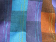 Purple Fabric, Checkered Fabric in Rust Purple & Teal Stripe, Vintage Striped Fabric, Multi Colored Fabric  #112