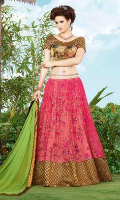 Shop Beige and Magenta Designer Lehenga Choli (SKU Code : LEHJDSGL7289_9407) Online at IshiMaya Fashion. Free shipping and Cash on delivery available.