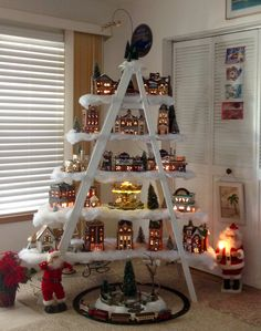 47 super Ideas for tree house ladder christmas villages - Modern Christmas Tree Village Display, Ladder Christmas Tree, Christmas Villages, Christmas Home, Christmas Crafts, Christmas Decorations, Holiday Decor, Christmas Ideas, Christmas Mantles